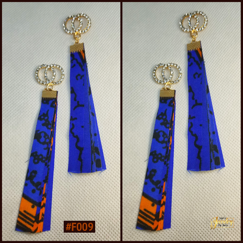 Blue & Orange Dangle African Print Fabric Earrings