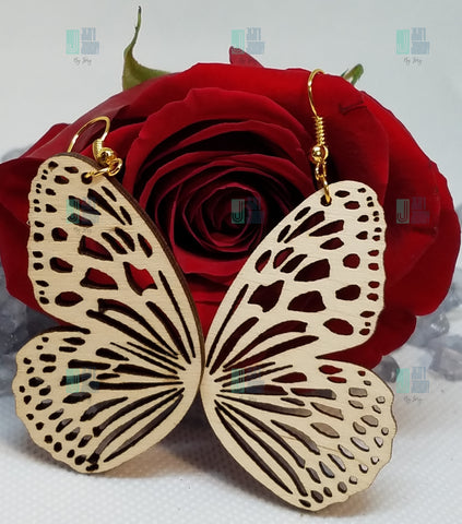 Butterfly Wings Shape Natural Wood