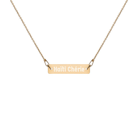Haiti Cherie Engraved Silver Bar Chain Necklace