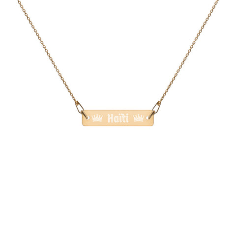 Royal Haiti Engraved Silver Bar Chain Necklace