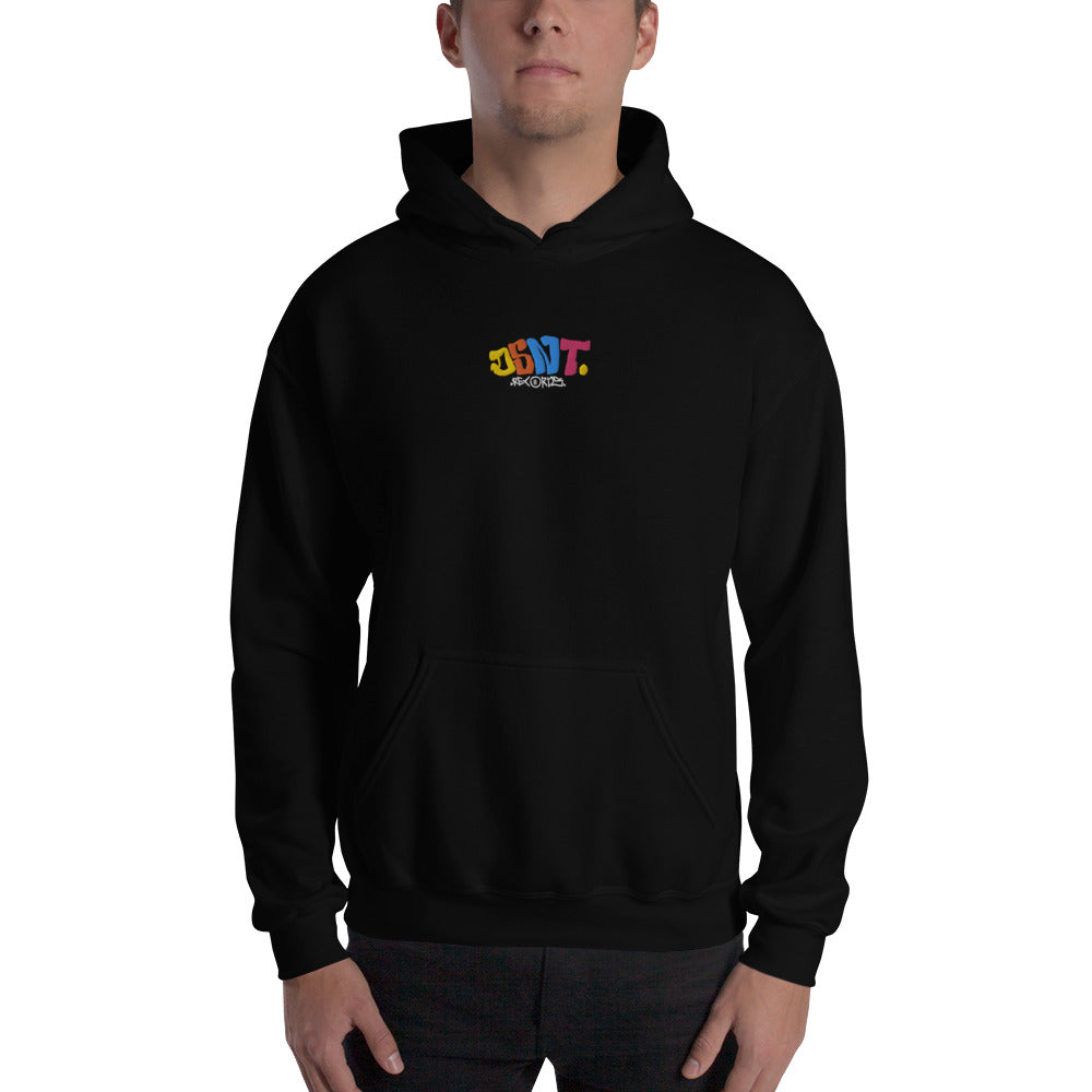 PRE ORDER: DSNT Multi-Coloured Embroidered Black Hoodie