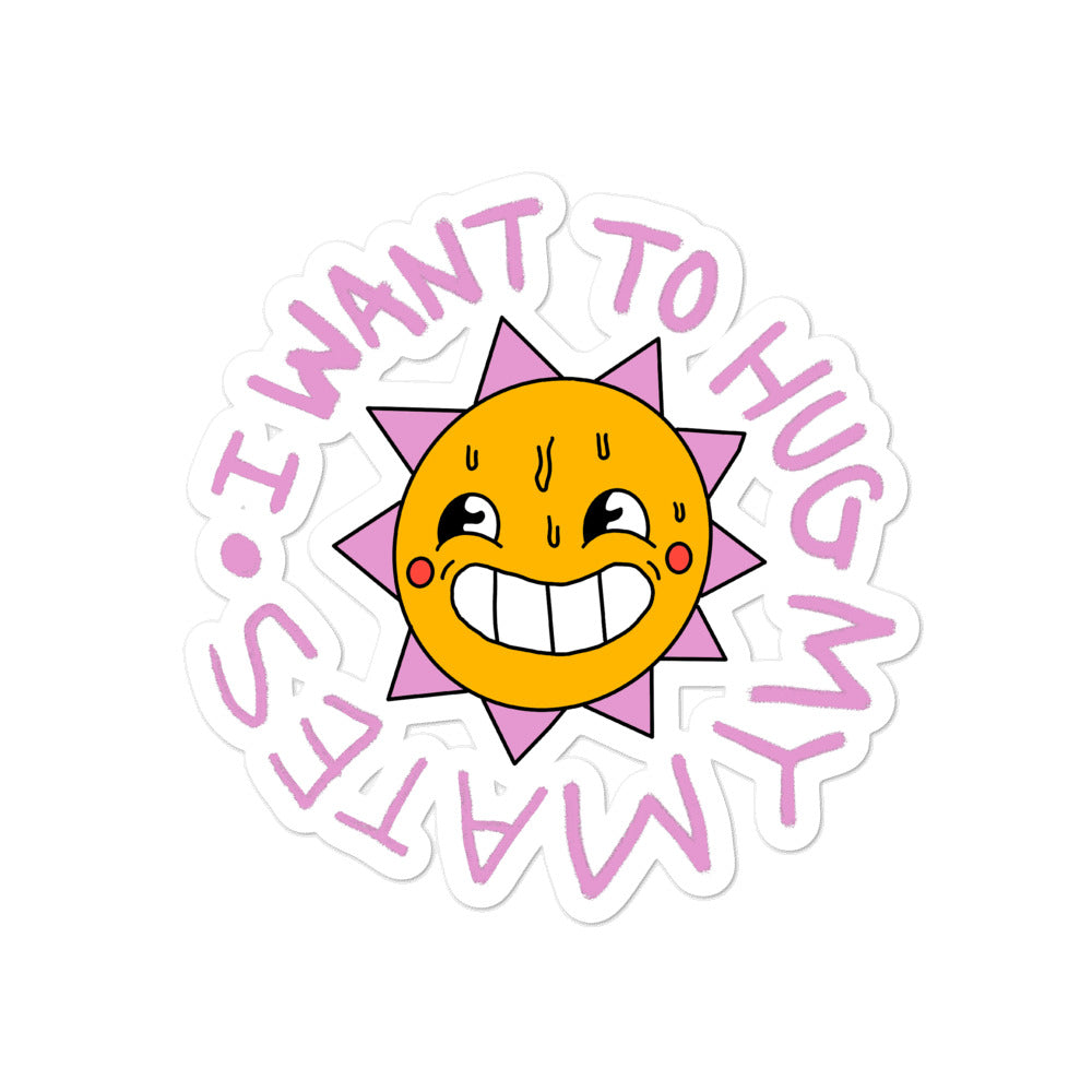 Wee Nuls x DSNT: Sunshine Hugs Sticker [Pink Typeface]