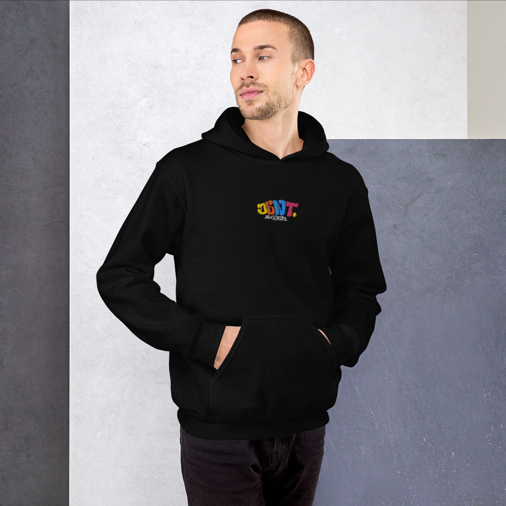 DSNT Multi-Coloured Embroidered Black Hoodie