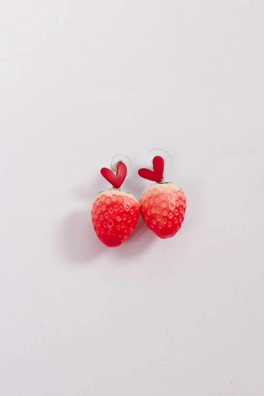 Strawberry Heart Earrings - Mawoolisa