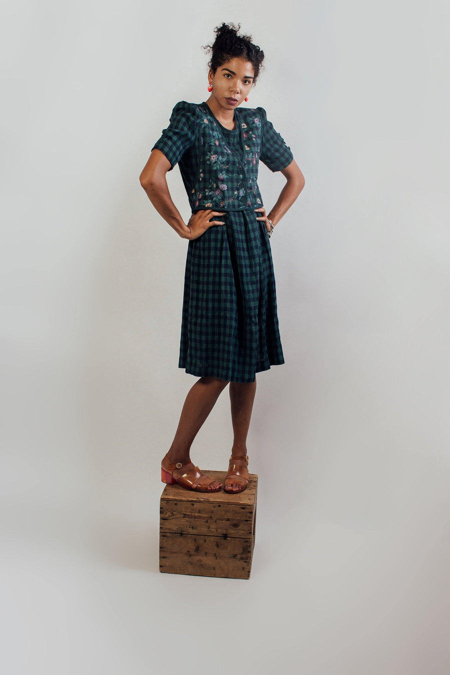 Vintage Green Prairie Dress - Mawoolisa