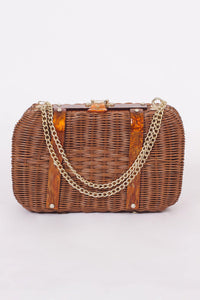 VINTAGE 80'S BROWN BASKET PURSE