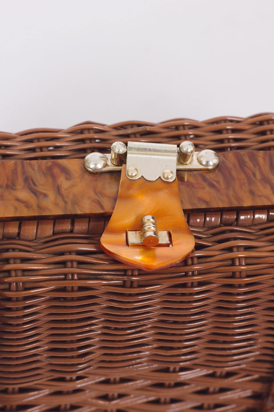 Vintage Brown Basket Purse - Mawoolisa