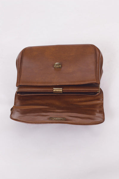 VINTAGE 70'S BROWN BRIEFCASE BAG