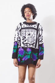 Vintage 90's Floral Abstract Sweater - Mawoolisa