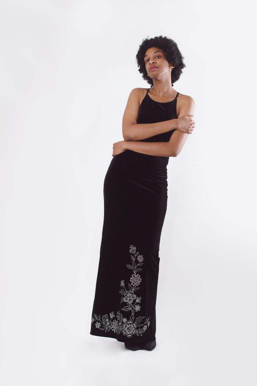 Black Velvet Maxi Dress - Mawoolisa