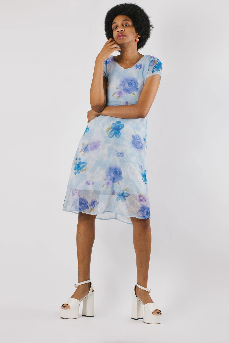 Vintage Y2K Blue Floral Midi Dress - Mawoolisa