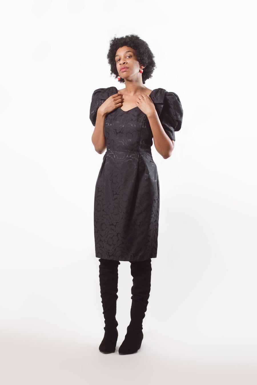 80's Black Cocktail Midi Dress