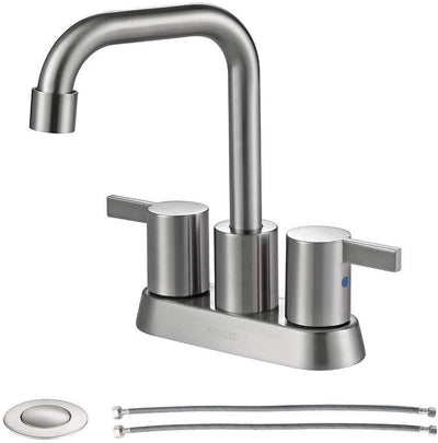 MAXWELL 2 Handles Bathroom Faucet Brushed Nickel with Pop-up Drain and Faucet Supply Lines, 1431602