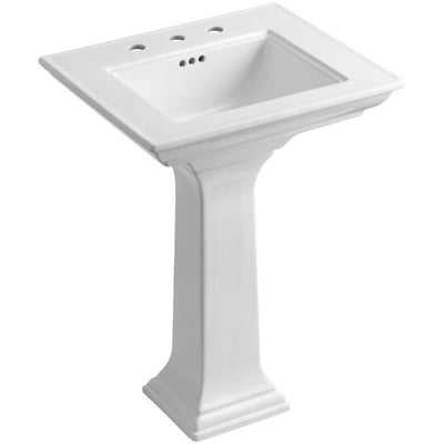 Maxwell K-2344-8-0 Memoirs Stately Pedestal Bathroom Sink, White