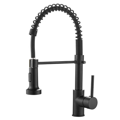 Maxwell Lead-Free Commercial Solid Brass Single Handle Single Lever Pull Down Sprayer Spring Kitchen Sink Faucet, Paint Black Kitchen Faucets 9009R-A