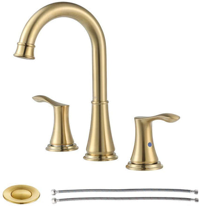 MAXWELL Brushed Gold Widespread Double Handles Bathroom Faucet with Pop Up Drain and cUPC Faucet Supply Lines, Demeter 1365108