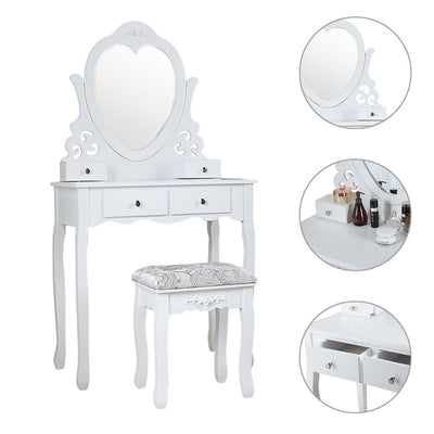 Maxwell 4 Drawers Vanity Table Set with Mirror and Cushioned Stool Makeup Dressing Table Organizer Bedroom, White