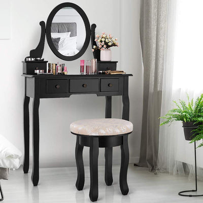 Maxwell Makeup Vanity Set with Oval Mirror & Cushioned Padded Stool, Wood Makeup Dressing Table w/ 5 Drawer & 360° Rotation Swivel Mirror for Girls Women (Black)
