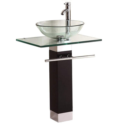 Maxwell Bathroom Vanity Set Tempered Glass Pedestal Sink for Save Bathroom Space