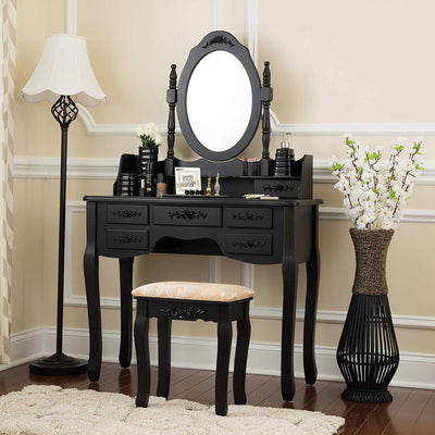 Fineboard Stool & Mirror Makeup 7 Organization Drawers Single Oval Mirror Make Up Vanity Table Set, Black