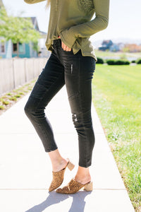 Distressed Dark Gray Modern Moto Jeans