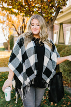 Load image into Gallery viewer, Blank Check Plaid Poncho