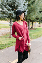 Load image into Gallery viewer, Brushed Melange V-Neck Sweater In Burgundy