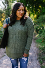 Load image into Gallery viewer, Cable Knit Popcorn Sweater In Olive