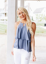 Load image into Gallery viewer, Cornflower Ruffle Halter Top