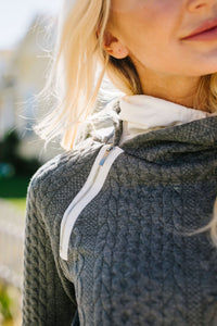 Double Hood Cable Knit Pullover