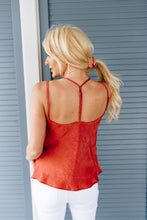 Load image into Gallery viewer, Draped Neck Satin Cami In Rust