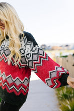Load image into Gallery viewer, Fair Isle Sweater In Charcoal + Red