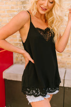 Load image into Gallery viewer, Frosted With Lace Camisole In Black