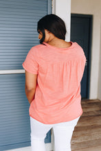 Load image into Gallery viewer, Heather Coral Pin-Tucked V-Neck Tee