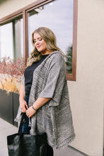Load image into Gallery viewer, Hooded Sweater Poncho In Heather Coal