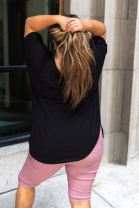 Nessa Crew Neck Top In Black PLUS