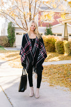 Load image into Gallery viewer, Plaid Girl Fringed Open Poncho