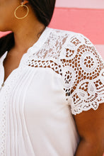 Load image into Gallery viewer, Pleats + Lace Blouse In White