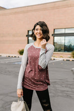 Load image into Gallery viewer, Polka Dot Elbow Patch Raglan Top