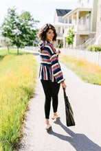 Load image into Gallery viewer, Striped Peplum Hoodie