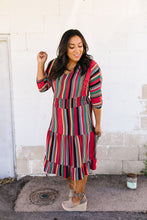 Load image into Gallery viewer, Vibrant Stripes Midi Dress
