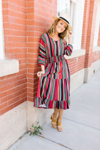 Vibrant Stripes Midi Dress