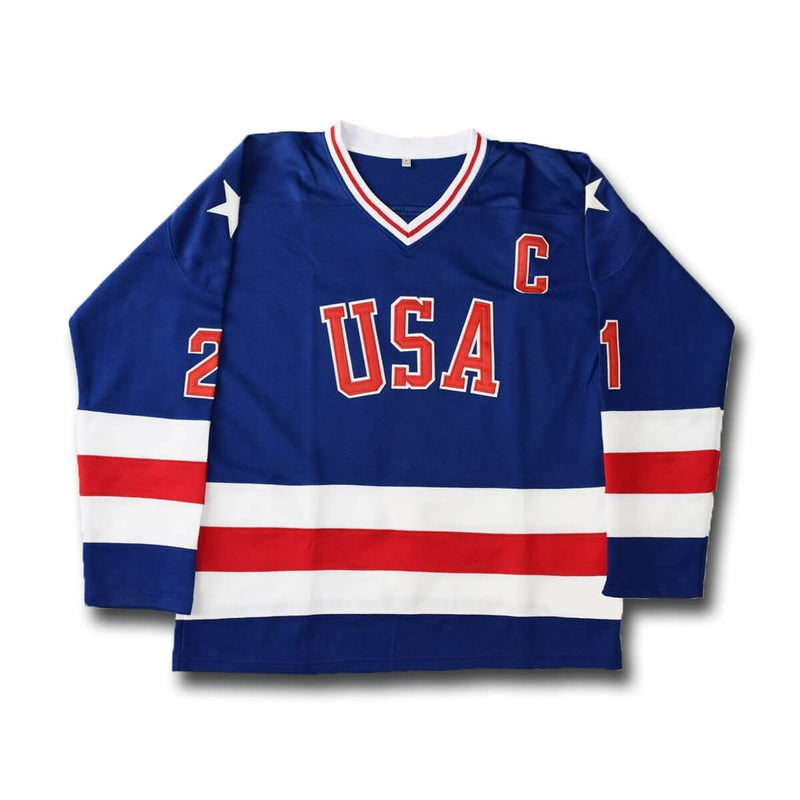1980 Miracle On Ice #21 Mike Eruzione USA Hockey Jersey White Blue