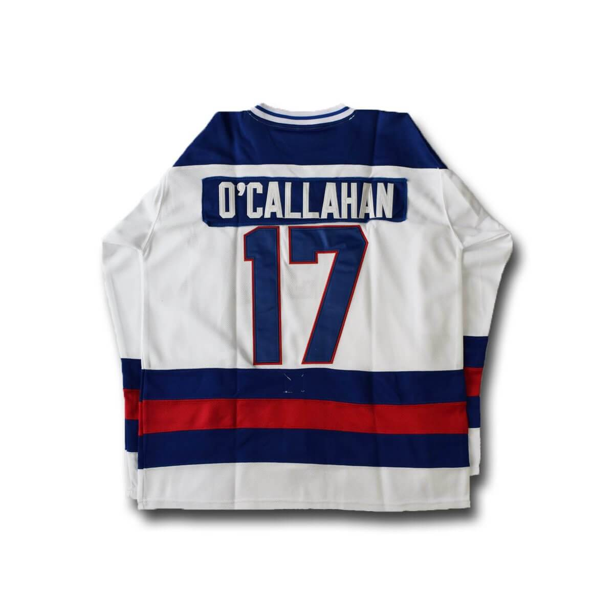 1980 Miracle On Ice Jack O'Callahan 17 USA Hockey Jersey White Blue