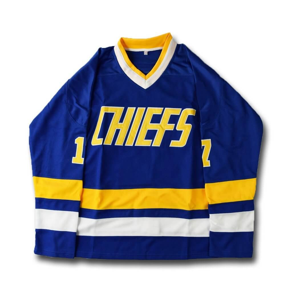 Slap Shot Steve Hanson 17 Charlestown Chiefs Hockey Jersey Blue Stitched