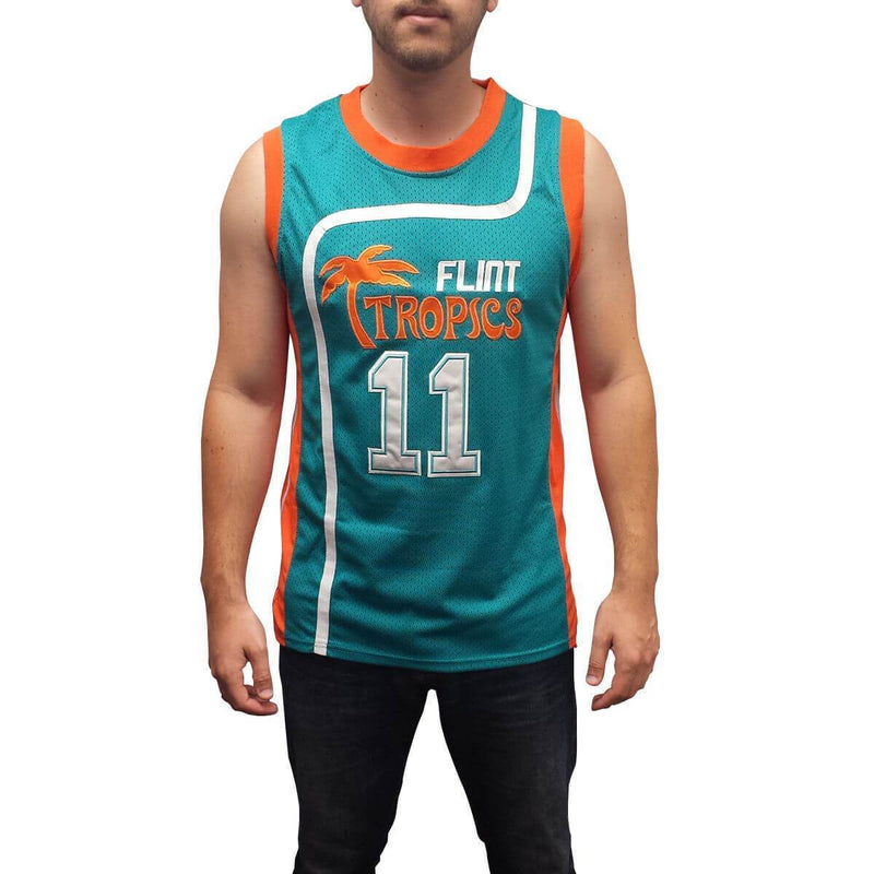 Flint Tropics Ed Monix Basketball Jersey #11 Stitched Green/White - Jersey Champs
