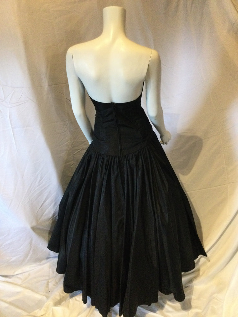 Vintage 50s Strapless Black Taffeta  Evening Gown