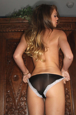 Jessie Andrews - Black Bikini Panty White Lace Trim
