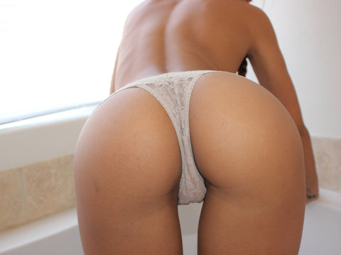 Amia Miley - Tan Lace Thong