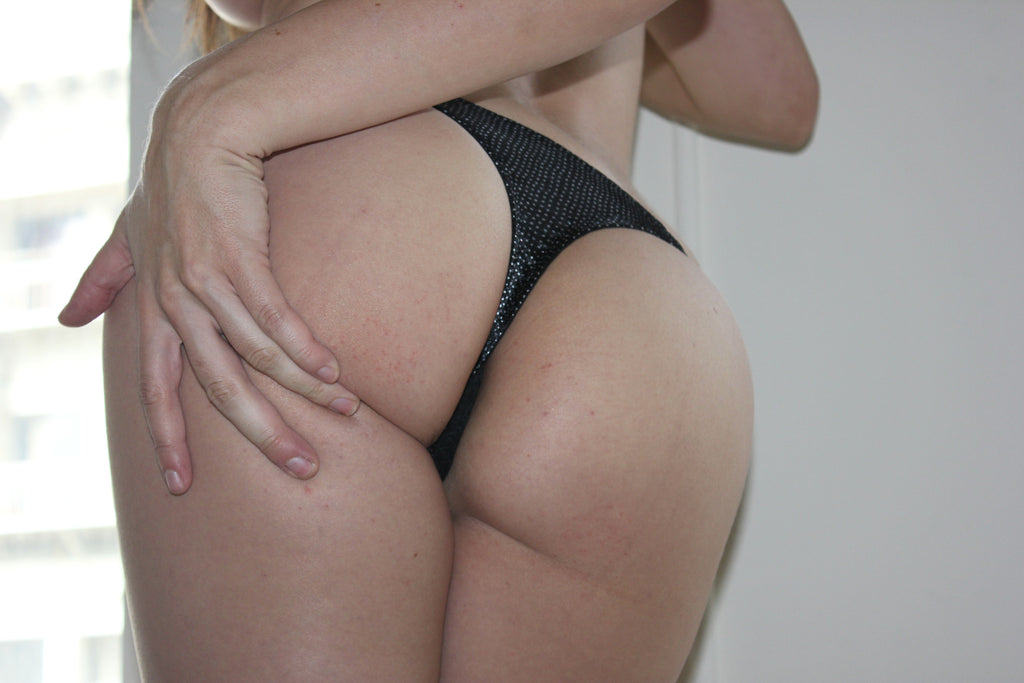 Tiffany Tyler - Black Silver Thong